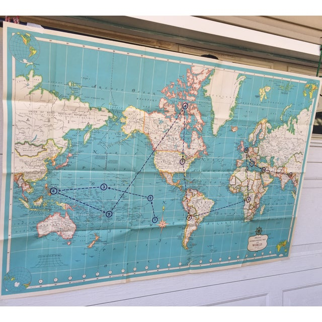 Vintage International Map of the World by Hammond - Image 9 of 10