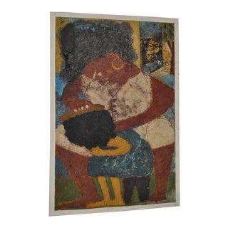 "Circa 1964 Vintage ""Combing Hair"" Haitian Painting"