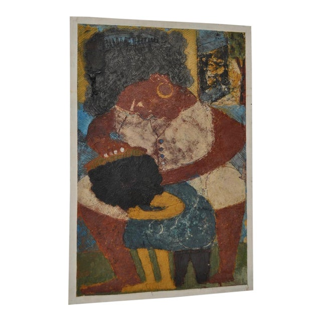 """Image of Circa 1964 Vintage """"Combing Hair"""" Haitian Painting"""