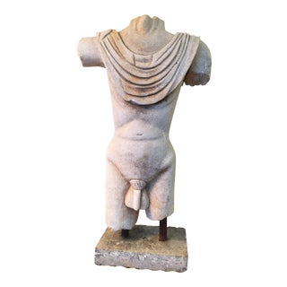 Large Carved Stone Male Nude Torso Figure