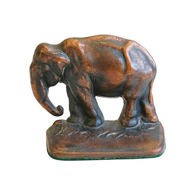 Image of Vintage 1930s Bronze Elephant Bookends - A Pair