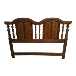 Vintage Solid Wood Mid-Century Queen Headboard