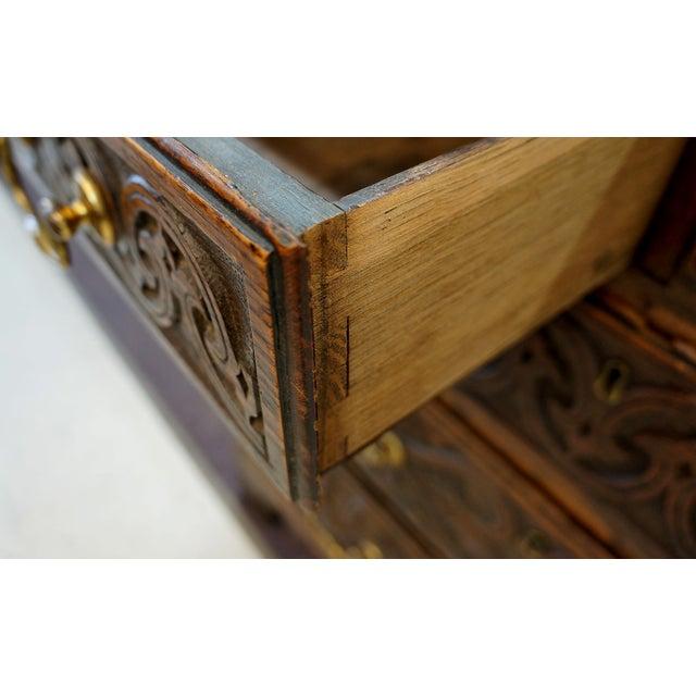 Ornate Hand Carved Oak Secretary Desk - Image 7 of 7