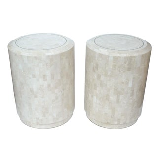 Maitland-Smith Tessellated Fossil Stone Side Tables - A Pair