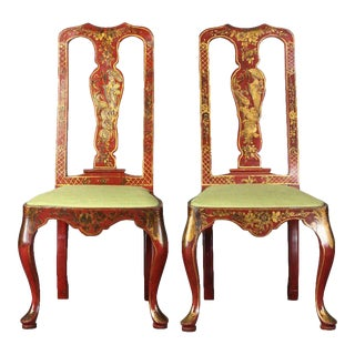 Queen Anne Style Chinoiserie Side Chairs - A Pair