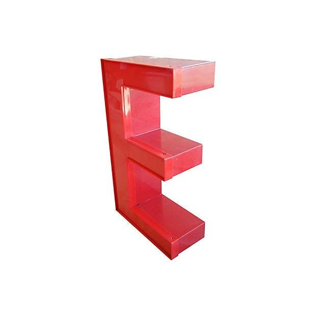 """Image of Large 16"""" Salvaged Red Marquee Storefront Letter E"""