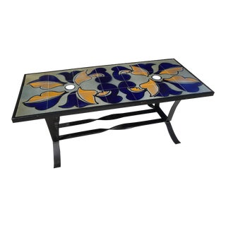 French Mid-Century Tiled Coffee Table