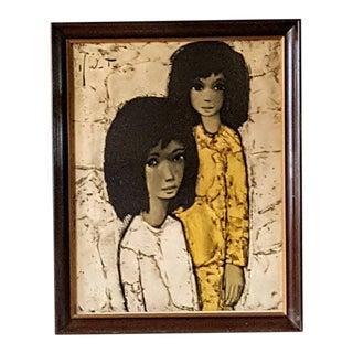 Mid-Century Modern Girls With Dark Hair and Yellow Shirt Art Print