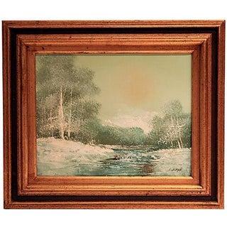 Original Framed Winter Scene Painting