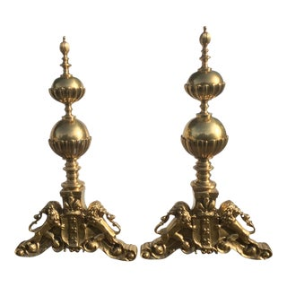English Style Brass Lion Andirons - a Pair
