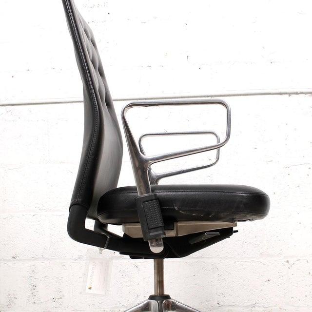 Vitra Italian Black Leather Swivel Desk Chair - Image 7 of 9