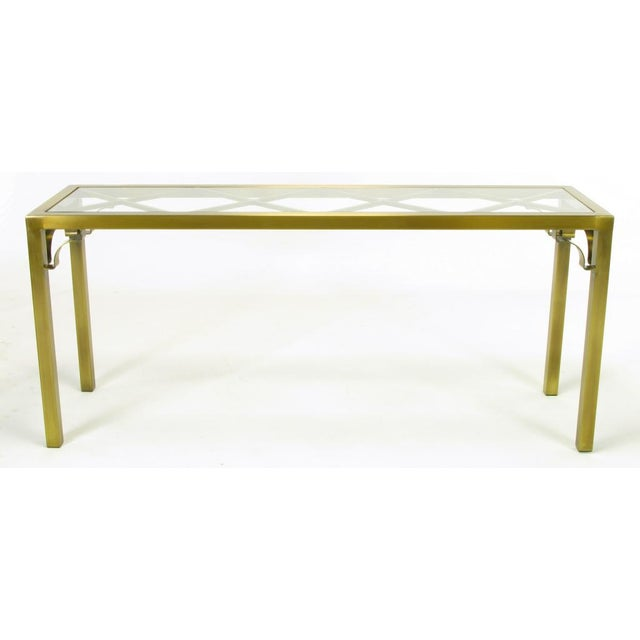 Image of Mastercraft Brass Chinese Chippendale Console Table