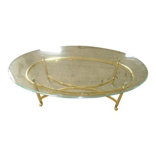 Hollywood Regency La Barge Style Brass & Oval Glass Coffee Table