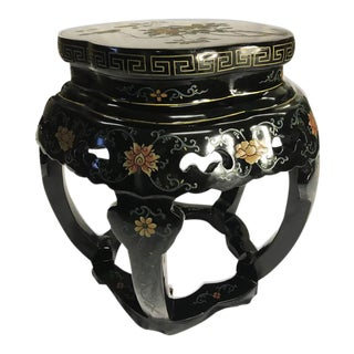 Antique Asian Chinese Black Lacquer Hand Painted Carved Garden Stool Seat