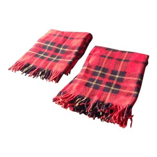 Red Plaid Wool Blankets - Pair