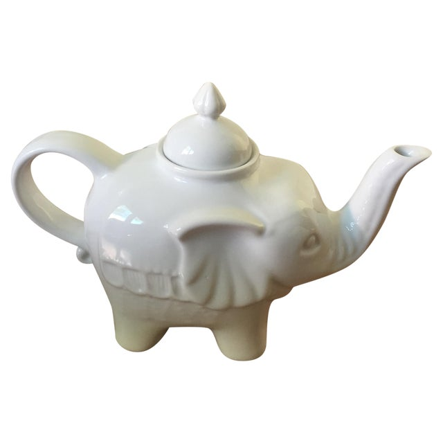 White Ceramic Elephant Teapot - Image 1 of 6