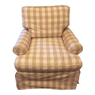 Lee Industries Plaid Slip Covered Chair