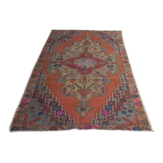 Faded Turkish Oushak Rug - 4′7″ × 8′7″