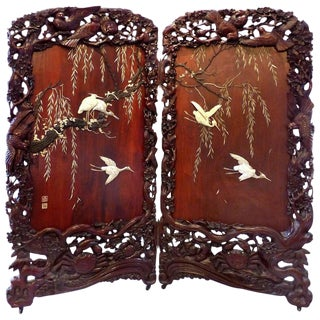 Circa 1900 Japanese Mother-Of Pearl Screen With Glass Eye Cranes