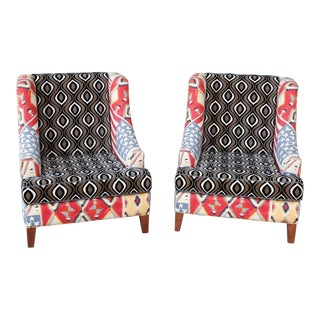 American Flag & Ogee Upholstered Armchairs- A Pair