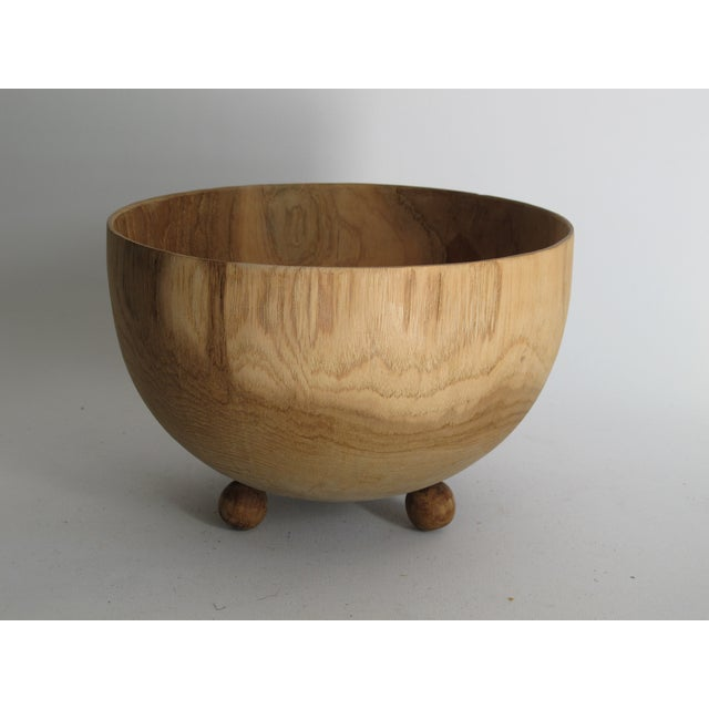 Carved Solid Wood Bowl with Bun Feet - Image 2 of 7