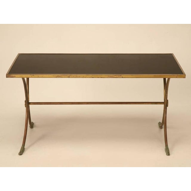 French solid brass black coffee table chairish for Buy black coffee table