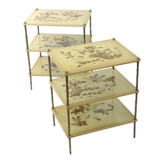 Maison Jansen Japanned Side Tables With Gilt Yellow Lacquered Table Tops - a Pair