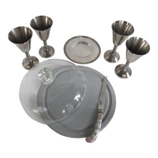 Silver-Plate Glasses/Coaster & Cheese Dome - 7