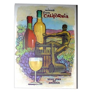 Vintage California Wines Poster in White