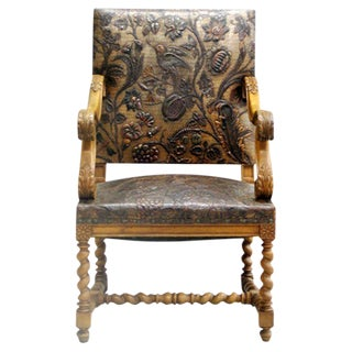 French Hand Tooled Leather Throne Chair
