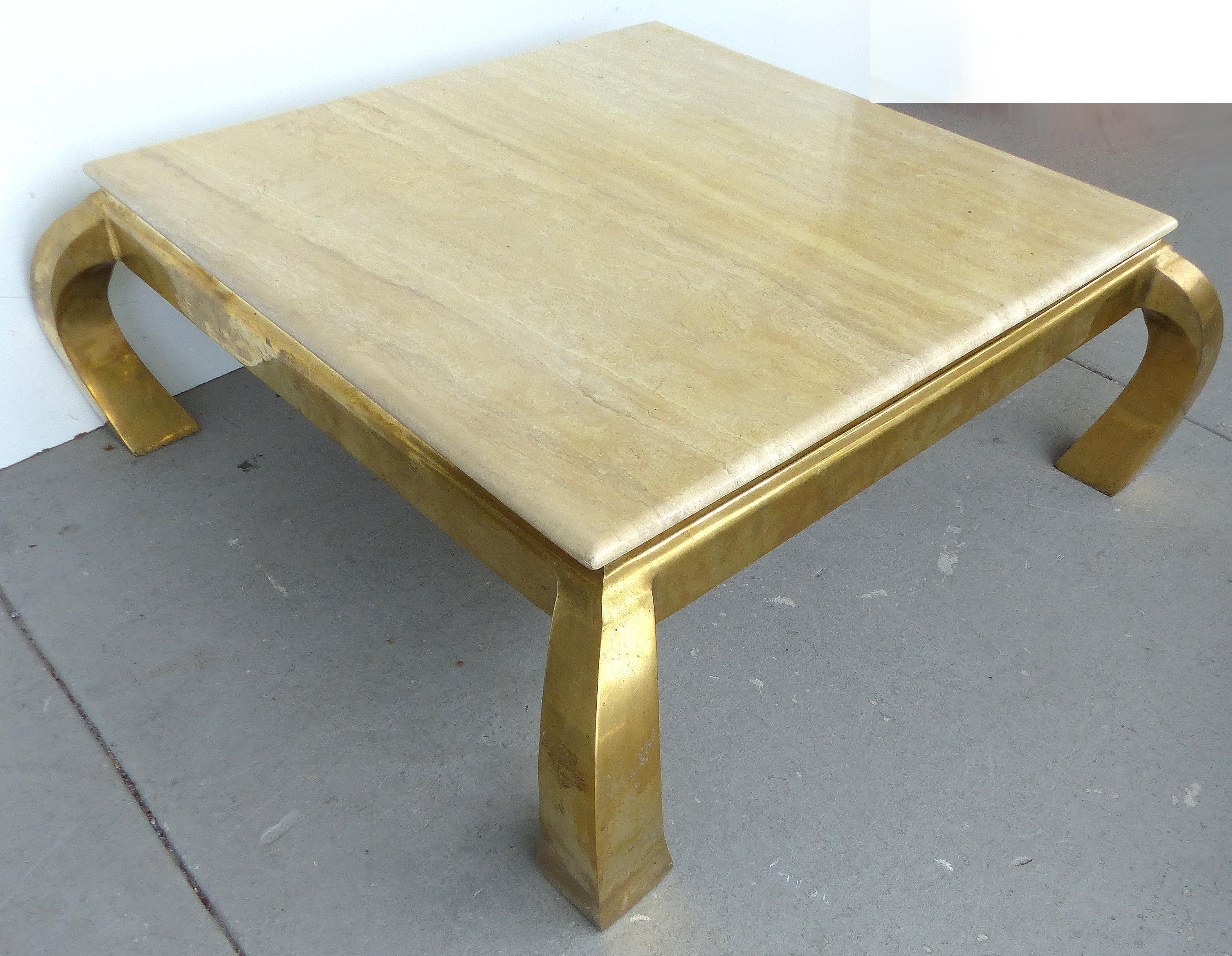 MidCentury Springer Style Brass Travertine Coffee Table Chairish