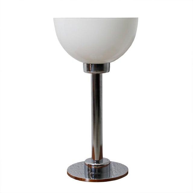 Chrome Amp White Glass Bowl Shaped Shade Table Lamp Chairish