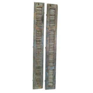 Antique Tall French Louvered Shabby Garden Wall Shutters - A Pair