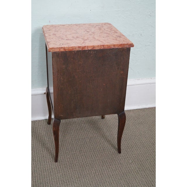 Image of Antique Louis XV Walnut Marble Top Nightstand