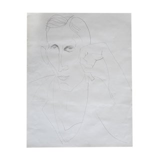 Original Large Scale Portrait of a Man Drawing