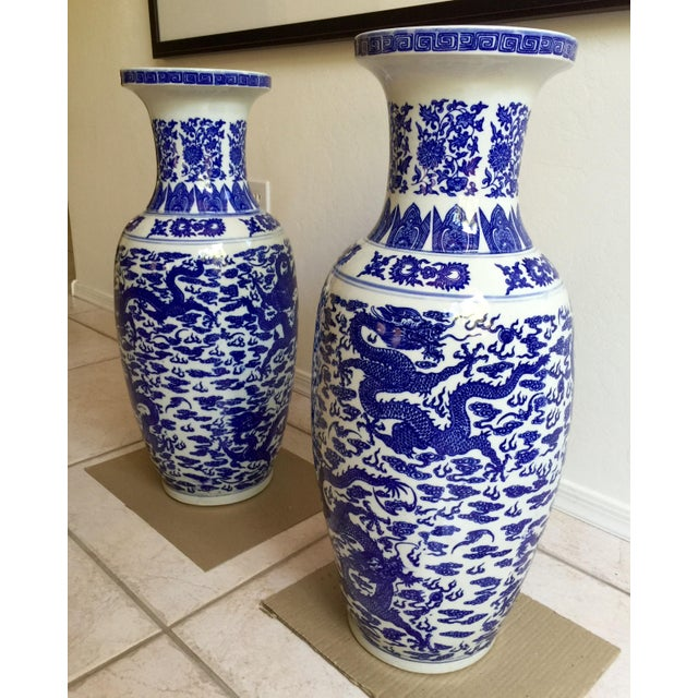 Chinese Blue & White Vases - Pair - Image 3 of 5