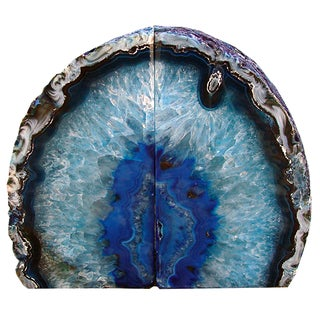 Dramatic Blue Agate Bookends