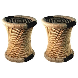 Black Moray Accent Stools - A Pair
