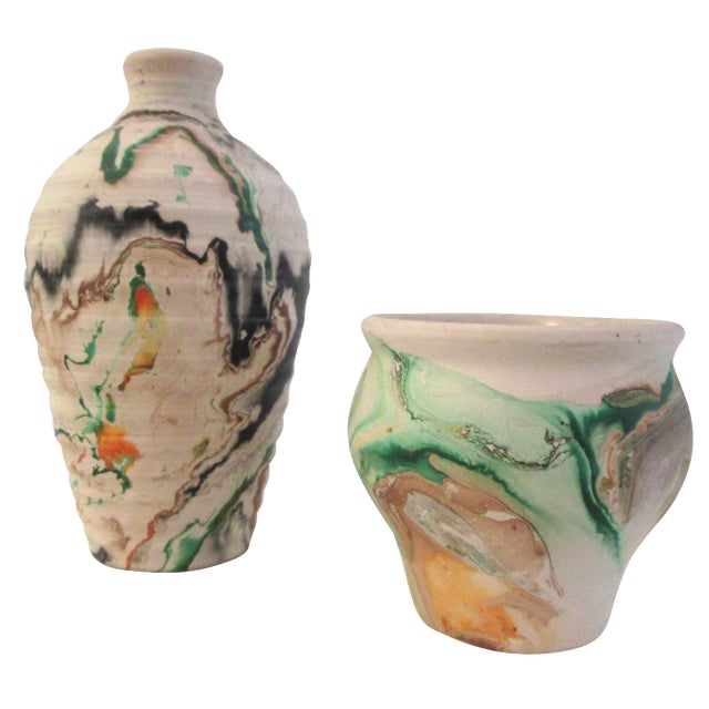 Nemadji Swirl Pottery Vessels - Pair - Image 1 of 11
