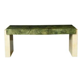 Custom Ordered Karl Springer Marbleized Emerald Green Lacquered Goatskin Desk