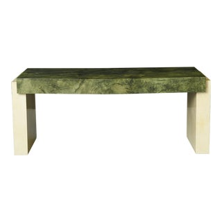 Custom Ordered Karl Springer Marbleized Emerald Green Lacquered Goatskin Desk