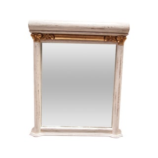 Rustic Painted White and Gilt Mirror