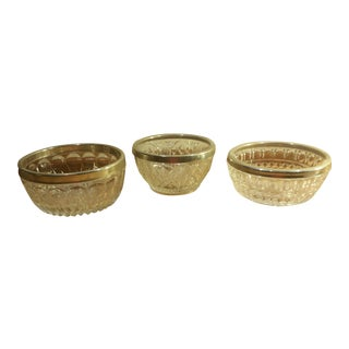 Small Candy Dishes with Silver Metal Rim - Set of 3