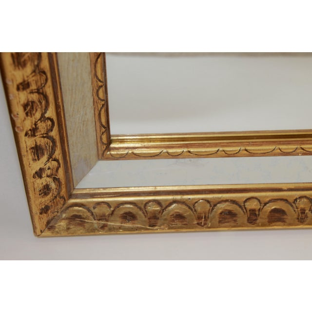 Image of Florentine Mid-Century Gold and White Framed Mirror