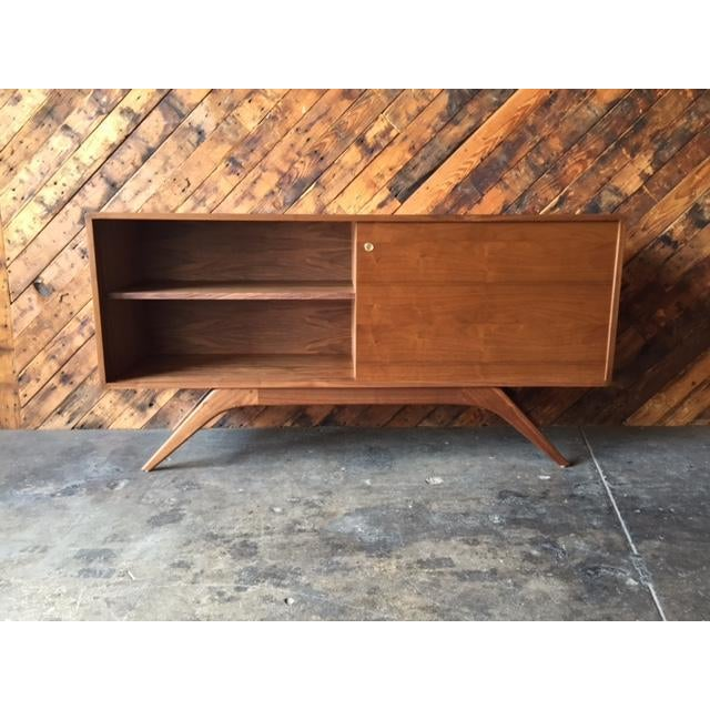Mid Century Style Custom Walnut Sculpted Base Credenza - Image 6 of 9