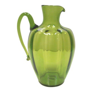 1960s Olive Green Pitcher Vase