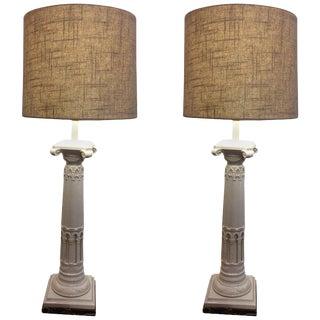 Neoclassical Ceramic Column Motif Table Lamps - A Pair