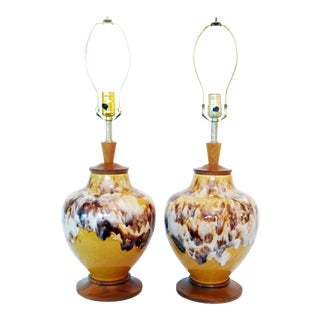 Mid-Century Earth Tone Drip Glaze Lamps - A Pair