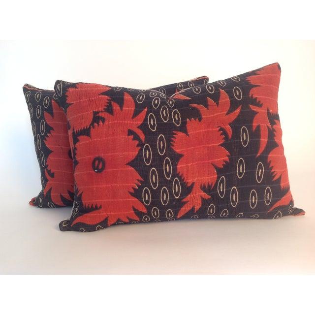 Image of Vintage Block Printed Kantha Quilt Pillows - Pair