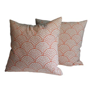 John Robshaw Scallop Stamped Coral Pillows- A Pair